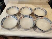 Vintage Japanese Imari Rice Bowls Set of 6 Hand Painted
