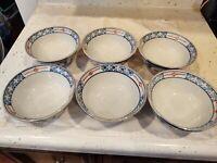 Vintage Japanese Imari Rice Bowls Set of 6 Hand Painted