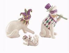 Lenox Mardi Gras Cat Family 3 pc Figurines NEW IN BOX!