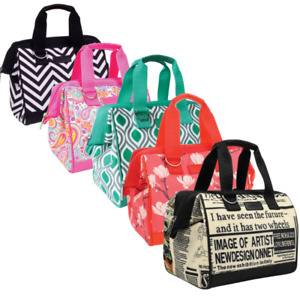 Sachi Insulated Lunch Tote bag  - Stylish designs - with external zip pocket
