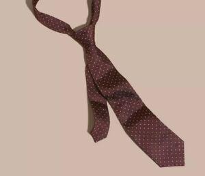 Burberry Classic Cut Polka Dot Silk Twill Tie Deep Claret