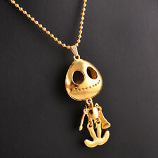 Cool Long Necklace Alien Big Eye Skull Skeleton Head UFO Pendant Chain Jewelry