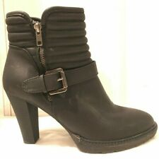 White Mountain Advice Black Ankle High Womens Ankle Boots w Biker Look Size 10