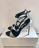 Casadei Size UK 7 EU 40, Black & White Leather High Heel Sandals, RRP £620, New