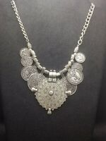 Vintage Silver Tone Tribal Ethnic Coin Necklace Tibetan