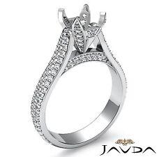 Round Semi Mount Platinum 950 1.45 Carat 3 Row Pave Set Diamond Engagement Ring