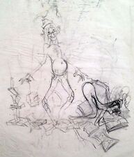 "Julian Ritter - ""Clown with a Lady""  Charcoal on Vellum 17""x23""  Un-Signed - 234"