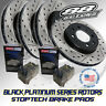 Front + Rear Drilled & Slotted Black Platinum Rotors Stoptech Brake Pads