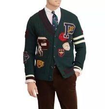 Polo Ralph Lauren 100% Wool  Patchwork Varsity Cardigan Mens Size Large $498