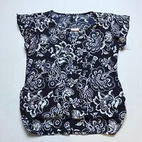 Ashley Blue White Floral Print Top Size Medium A985