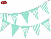 Happy Birthday Green Mint Stripes Themed Bunting Banner by PARTY DECOR