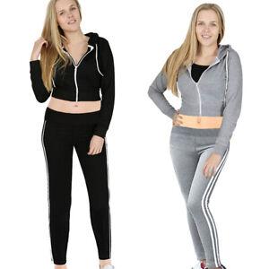 Womens 2 PCS Crop Hoodie Tracksuit Set Ladies Stripe Joggers Activewear UK 6-18