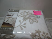 New Croscill Full/Queen Duvet Cover DEVON ~ Tan/Natural Embroidery Floral NIP