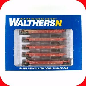 N SCALE CP Canadian Pacific Thrall 5-Car Well Stack, WALTHERS 929-8101 WEATHERED