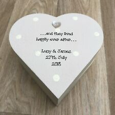 Shabby Personalised Chic BRIDE & GROOM Gift ANY NAME Heart Box Wedding PRESENT