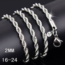 wholesale 925 Silver lots 5pcs 2mm rope chain Necklace 16-24inch