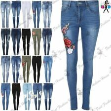 Damen-Jeans im Jeggings -/Stretch-Stil aus Denim mit Stickerei