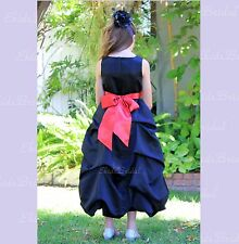 Black Flower Girl Wedding Dress Pick-up Girl Dress Size 2 2T 4 6 7 8 10 12 14 16