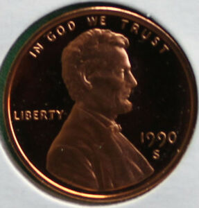 1990 S Lincoln Penny One-Cent Proof U.S. Mint Coin 1c from Proof Set