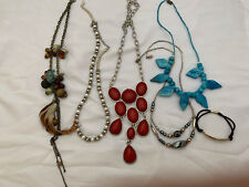 5 Fashion NECKLACES: Pearl & Silver, Red, Blue, Feather Beads Bracelet Pre-Owned