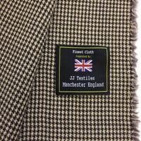 3.5 Metres Brown/Grey Houndstooth Pure Wool Lightweight Suit/Jacketing Fabric.