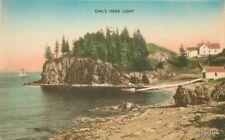 1920s Lighthouse Owl's Head Light West Hand colored postcard 10939