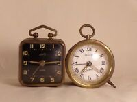 2 Small Bradley Wind-Up Alarm Clock West Germany