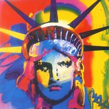 PETER MAX POSTER- LIBERTY HEAD- RAINBOW 12 X 12