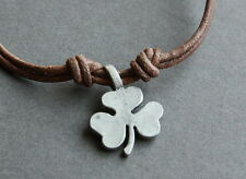 NEW Leather Clover Metal Pendant Necklace Handmade Surfer Men's Choker