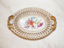 VINTAGE DRESDEN GERMANY SMALL OVAL RETICULATED BOWL GOLD TRIM