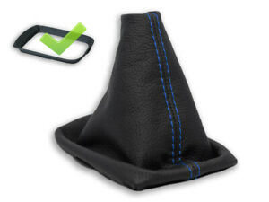 FOR VOLVO C30 S40 V50 GEAR BOOT GAITER LEATHER STITCH BLUE + FRAME
