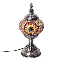 Handcrafted Multi Color Floral Mosaic Turkish Style Table Lamp with Bronze Base