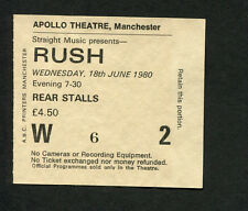 1980 Rush Quartz concert ticket stub UK Permanent Waves The Spirit Of Radio