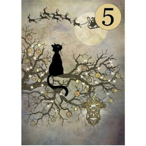 Bug Art Luxury Cat Christmas Cards 'Moon Cat' Gold Foiled Blank Inside 5 PACK