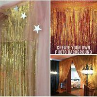 Shiny Metallic Tinsel Foil Fringe Curtains F Party Photo Backdrop Wedding Decor