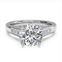 1.05Ct Solitaire Moissanite Engagement Ring 14K Real White Gold Size N M J K O L