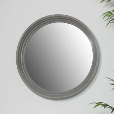Large round grey wall mirror vintage shabby chic rustic living room home decor