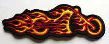 FLAMING BIKE - SEW OR IRON ON BIKER MOTORCYCLE PATCH 35mm x 105mm