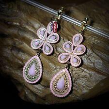 orecchini Clip Goccia Fiore Rosa Pallido Retrò Originale Sera Regalo B6