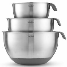 VonShef Mixing Bowl Set Stainless Steel Large 3 Piece Non Slip Cooking 5 Litre