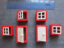 LEGO 6 Large Windows and doors With Frames and shutters-Red and White