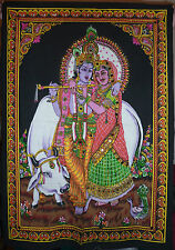Indian Radha Krishna with Cow Sequined Wall Hanging * Fair Trade * Large