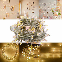 Warm White LED Fairy String Lights Xmas Christmas Tree Lamp Wedding Indoor Home