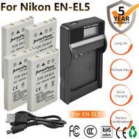 EN-EL5 Battery / Charger For Nikon Coolpix P500 P510 P520 P530 P100 5900 7900