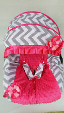 baby girl gray pink infant car seat cover canopy cover fit most infant car seat