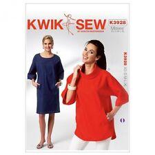 KWIK SEW K3928 Misses' Dolman Sleeve Tunic Dress & Top Sizes XS-S-M-L-XL