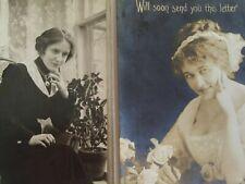 2 Vintage Postcards RPPC Photo Ladies Contemplative Writing Letter