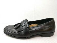 David Taylor Mens 8.5 Med Black Leather Tassel Fringe Loafers Dress Shoes Career