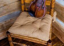 Olivia's Heartland Deluxe Natural Tan BURLAP square seat Chair Pad cushion 15x15