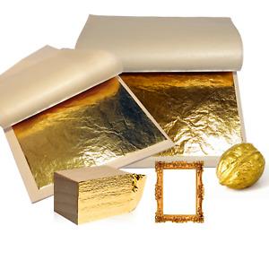 DBAILY Blattmetall Gold Blattgold Flakes 6pcs Gilding Flakes Set Blattgoldflocken Nachahmung Blattgold Flocken Blattgold+1pcs Pinzette zum Vergolden Malerei und DIY Kunsthandwerk(3 Farben)